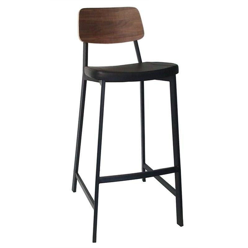 Enfys Commercial Grade Black Metal Frame Bar Stool, Black PU Seat & Walnut Back