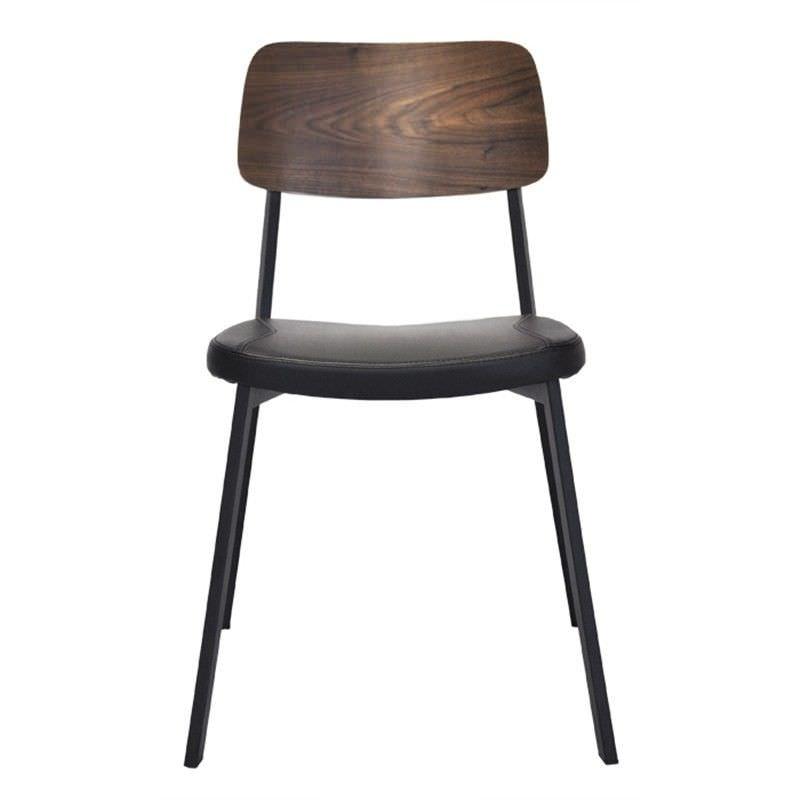 Enfys Commercial Grade Black Metal Frame Chair with Black PU Seat & Walnut Veneer Back