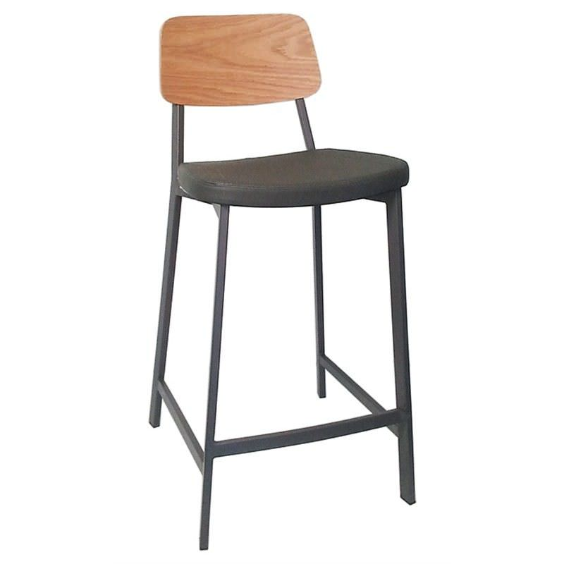 Espriit Commercial Grade Charcoal Metal Frame Counter Stool, Charcoal PU Seat & Oak  Back