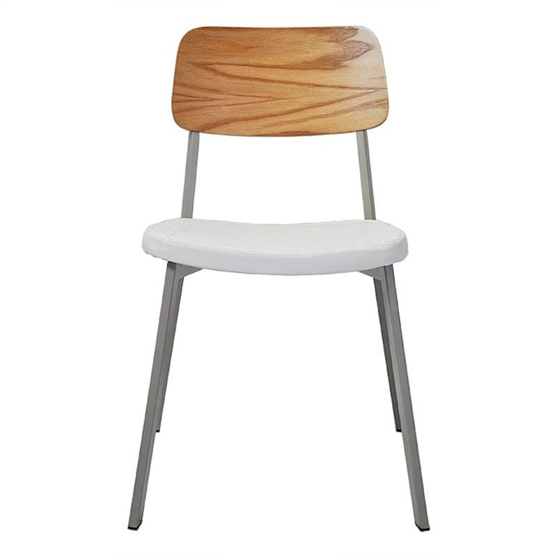 Espriit Commercial Grade Grey Metal Frame Chair with White PU Seat & Oak Veneer Back