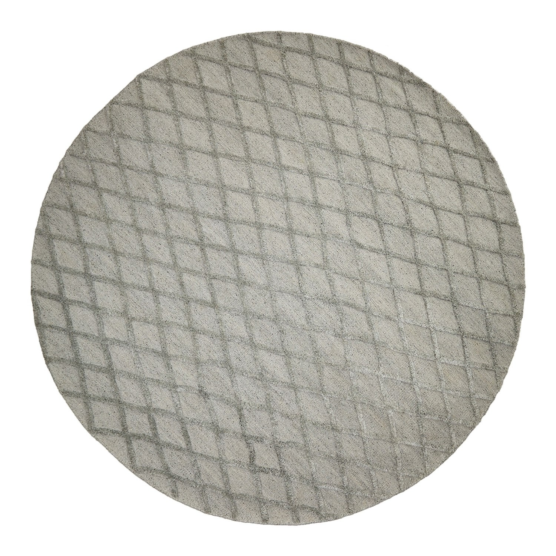 Estelle Lattice Bamboo Silk Modern Round Rug, 300cm, Silver