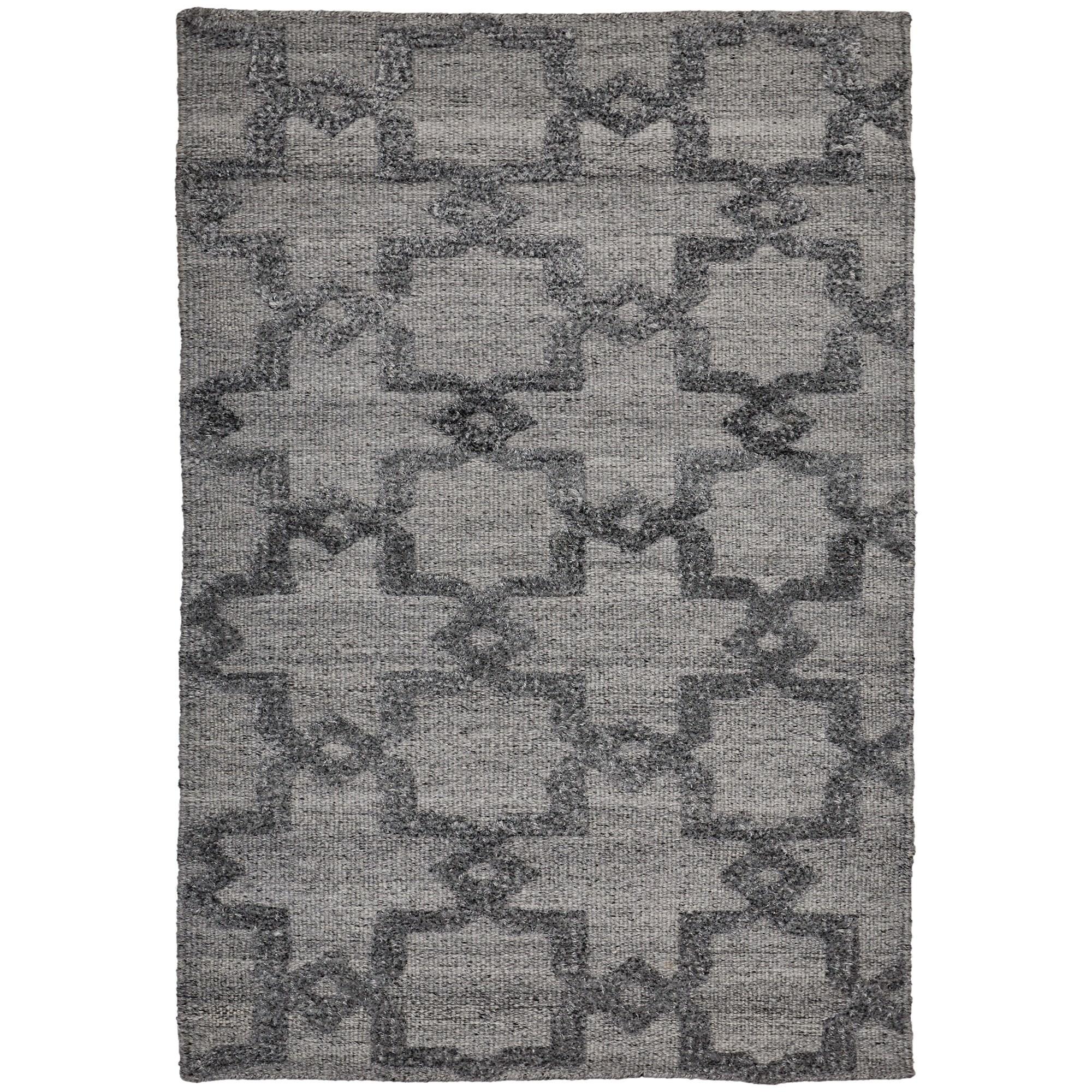 Estelle Trellis Bamboo Silk Modern Rug, 130x70cm, Grey