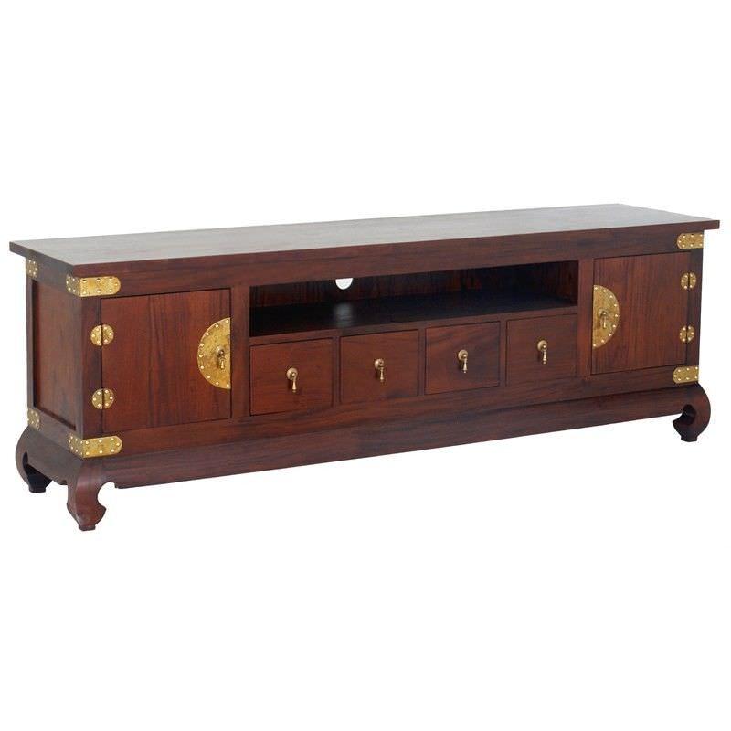 Ming Solid Mahogany Timber 2 Door 4 Drawer TV Unit, 190cm, Mahogany