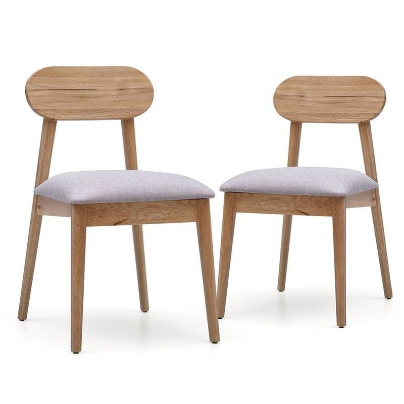 Alison Set of 2 Solid White Oak Timber Dining Chairs