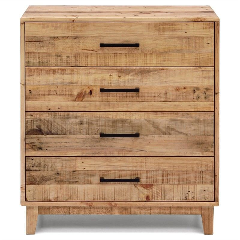 Portland Solid Recycled Pine Timber 4 Drawer Tallboy