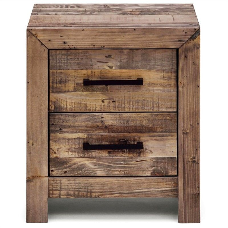 Boston Solid Recycled Pine Timber 2 Drawer Bedside Table