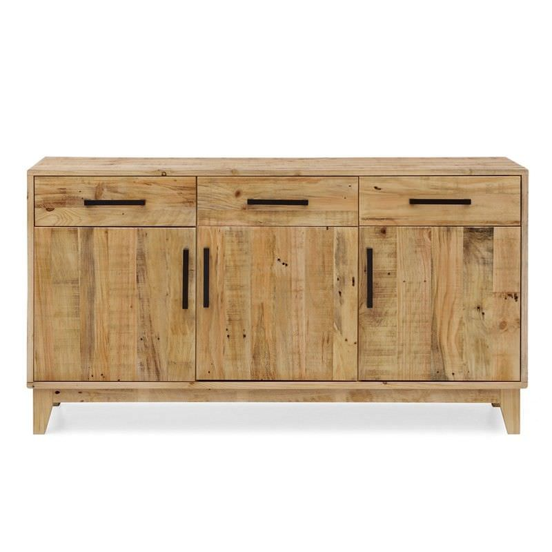 Portland Recycled Pine Timber 3 Door 3 Drawer 155cm Buffet Table