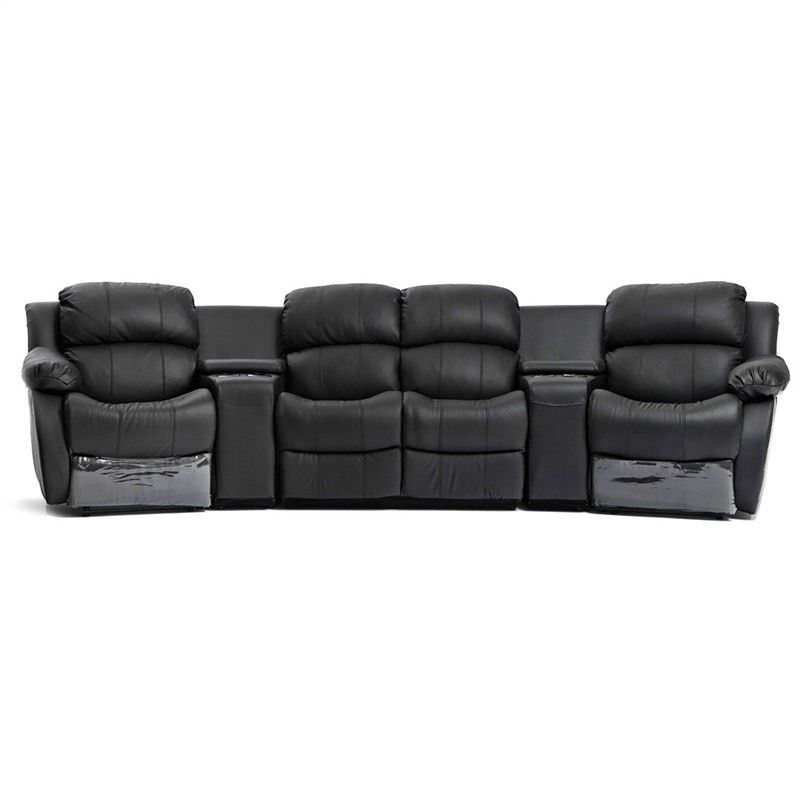 Nikki Genuine Leather 4 Seater Recliner Lounge Suite, Black