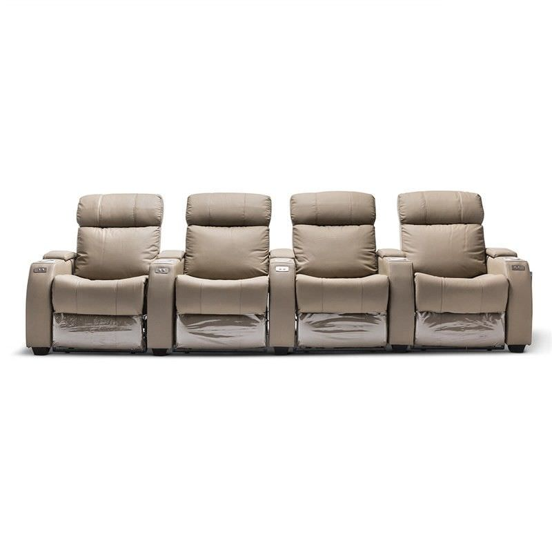 Anna Genuine Leather 4 Seater Electric Recliner Sofa Beige