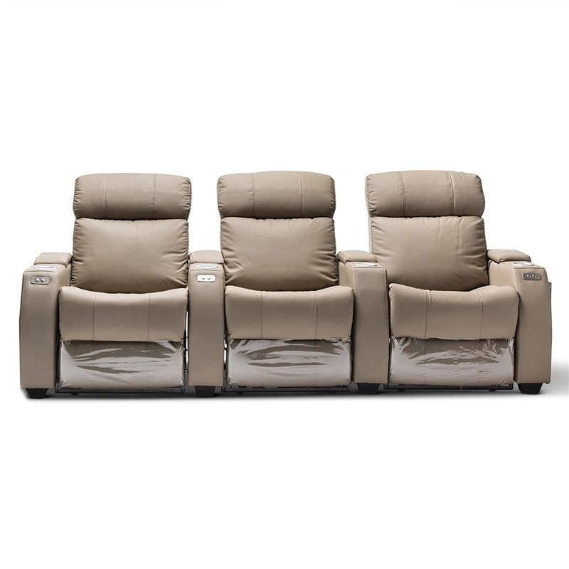Anna Genuine Leather 3 Seater Electric Recliner Sofa, Beige