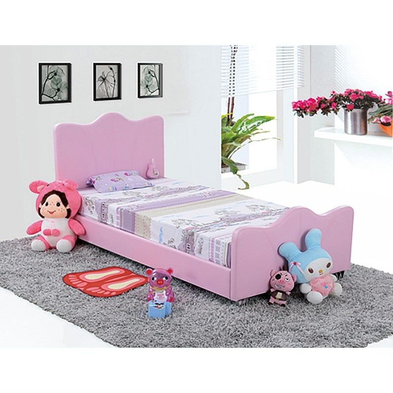 Paige Faux Leather Single Bed - Pink