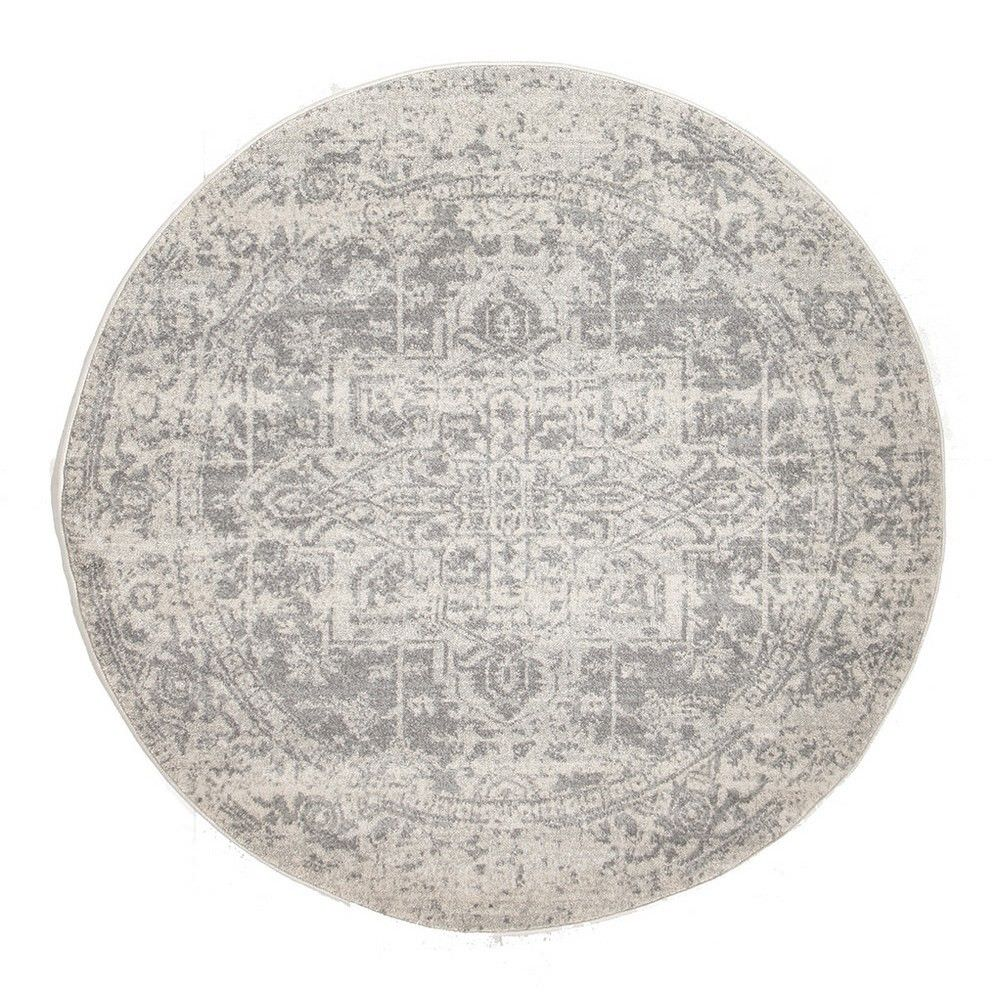 Evoke Muse Turkish Made Oriental Round Rug, 240cm, White / Silver