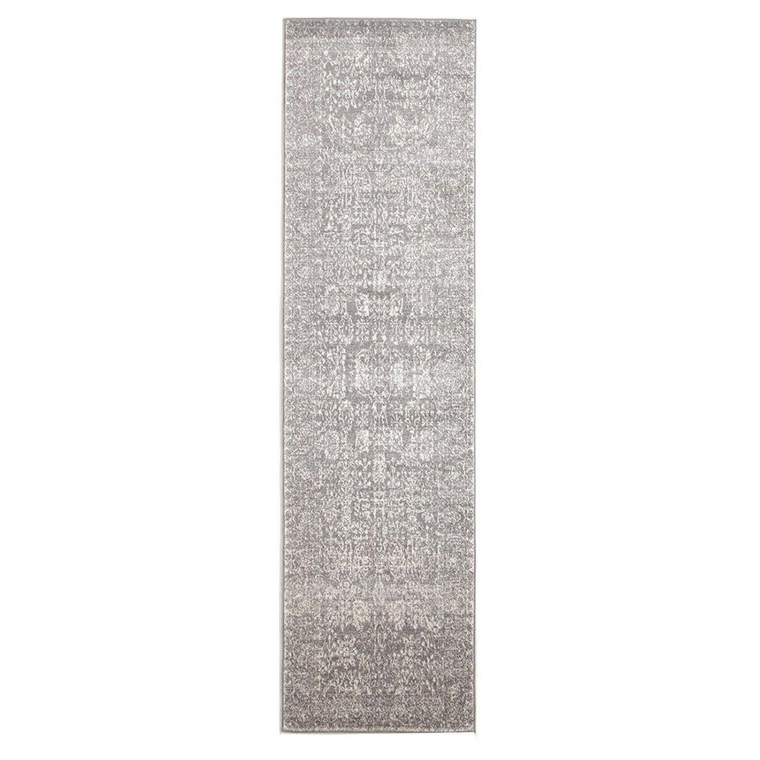 Evoke Frost Turkish Made Oriental Runner Rug, 400x80cm, Grey