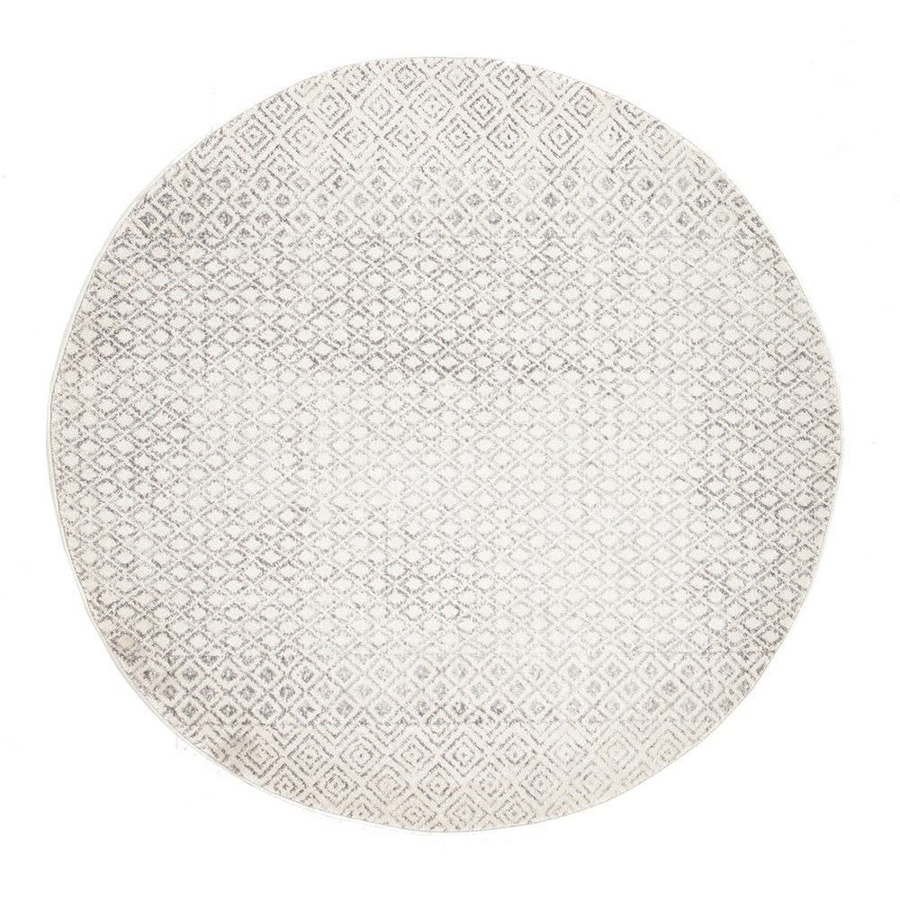 Evoke diamond turkish made modern round rug 150cm grey