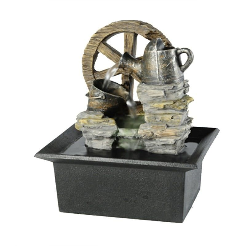 Wheel and Tin Fountain - 20cm