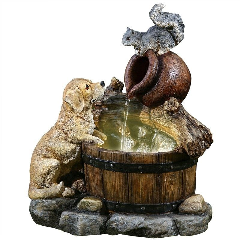 Dog and Squirrel Water Fountain
