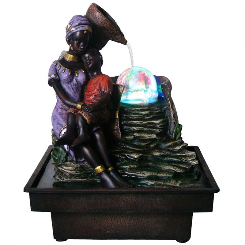 African Family Fountain - 25.6cm