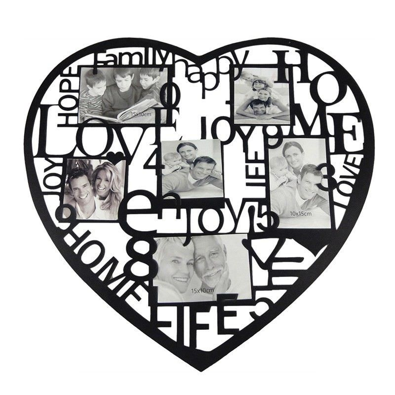 Heart Collage Photo Frame - Black