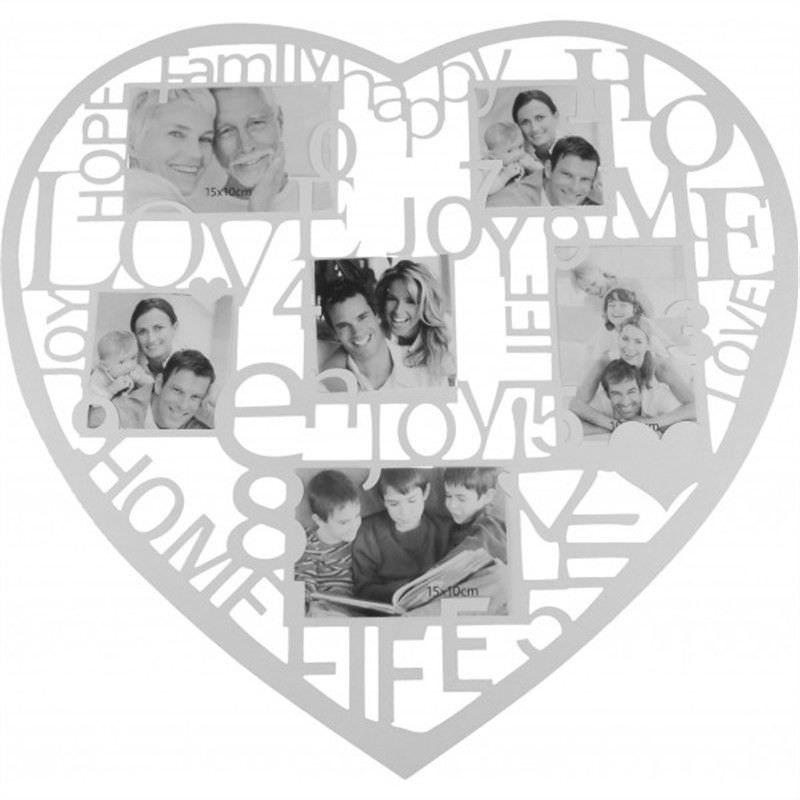 Heart Collage Photo Frame - White