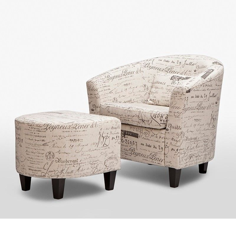 Occasional Fabric Tub Chair and Ottoman in Cream - 78cm