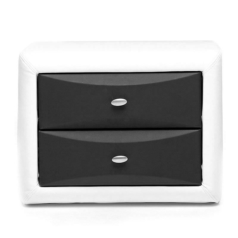 Gitzo Morden PU Leather 2 Drawer Bedside Table - Black & White