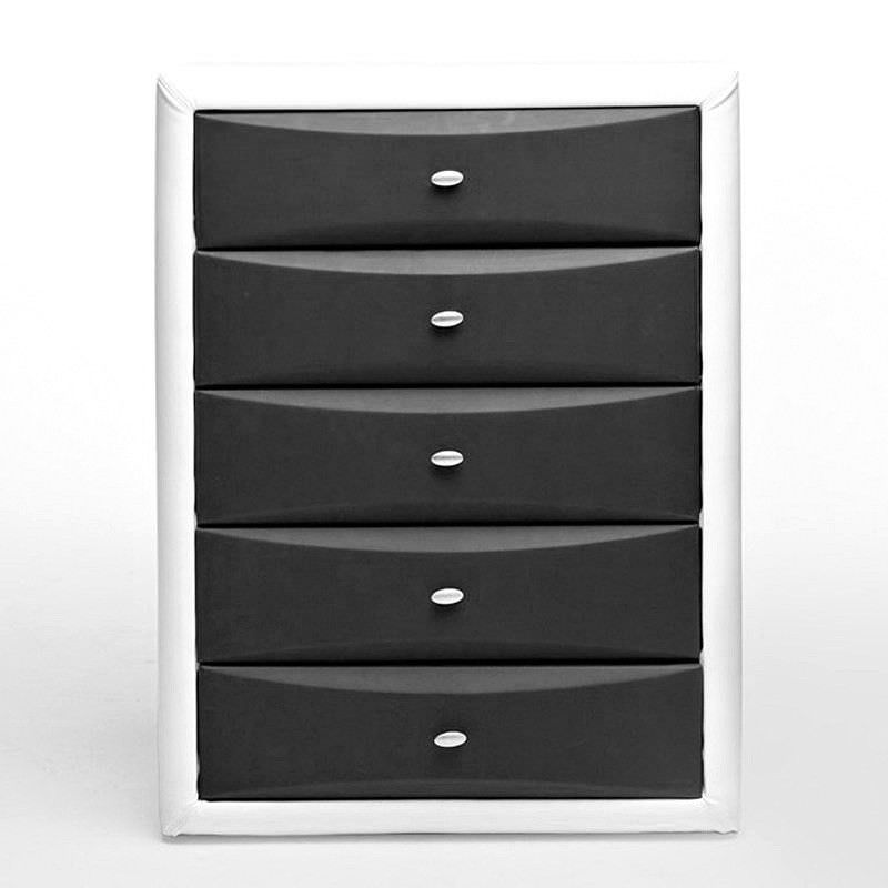 Gitzo Morden PU Leather 5 Drawer Tallboy - Black & White