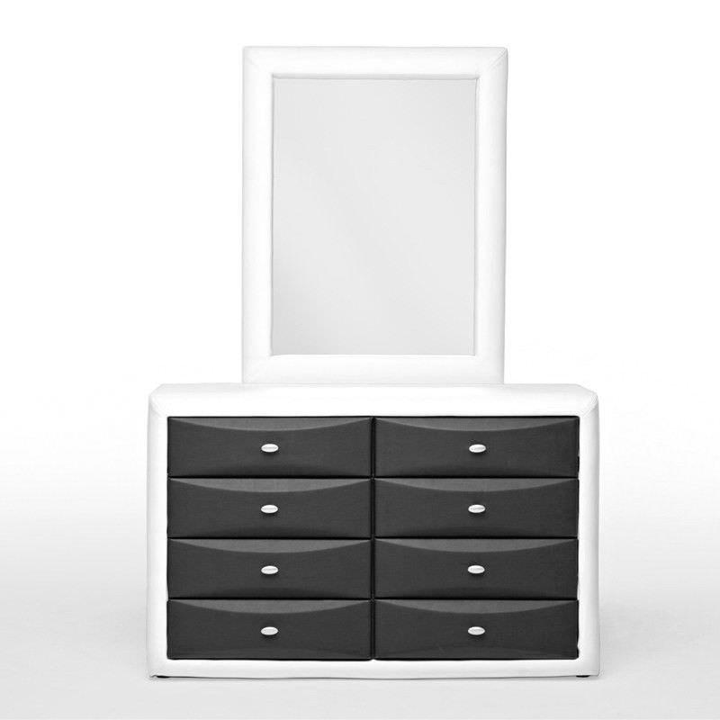 Gitzo Morden PU Leather 8 Drawer Dressing Table with Mirror - Black & White