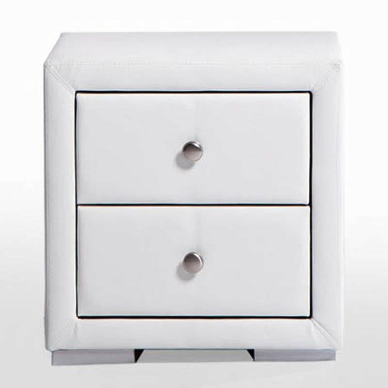 Eaka White PU Leather Night Stand - 49.5cm
