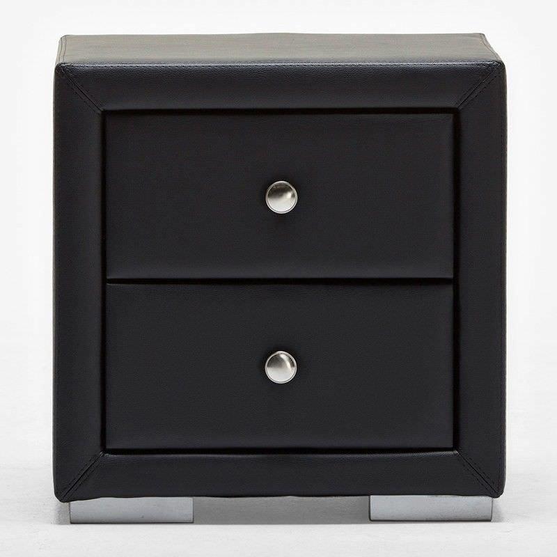 Eaka Black PU Leather Night Stand - 49.5cm