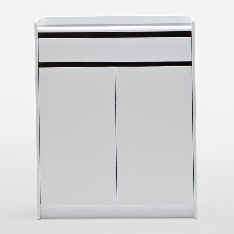 A15 White Shoe Cabinet with 2 Doors 1 Drawer - 100cm