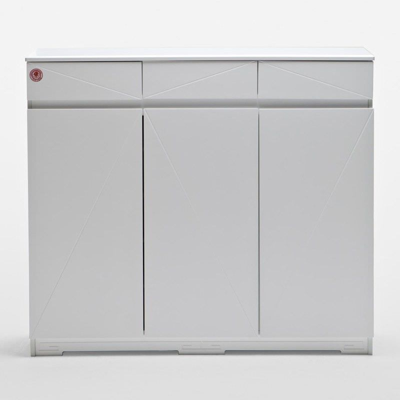 A30 White Shoe Cabinet with 3 Doors 3 Drawers - 120cm