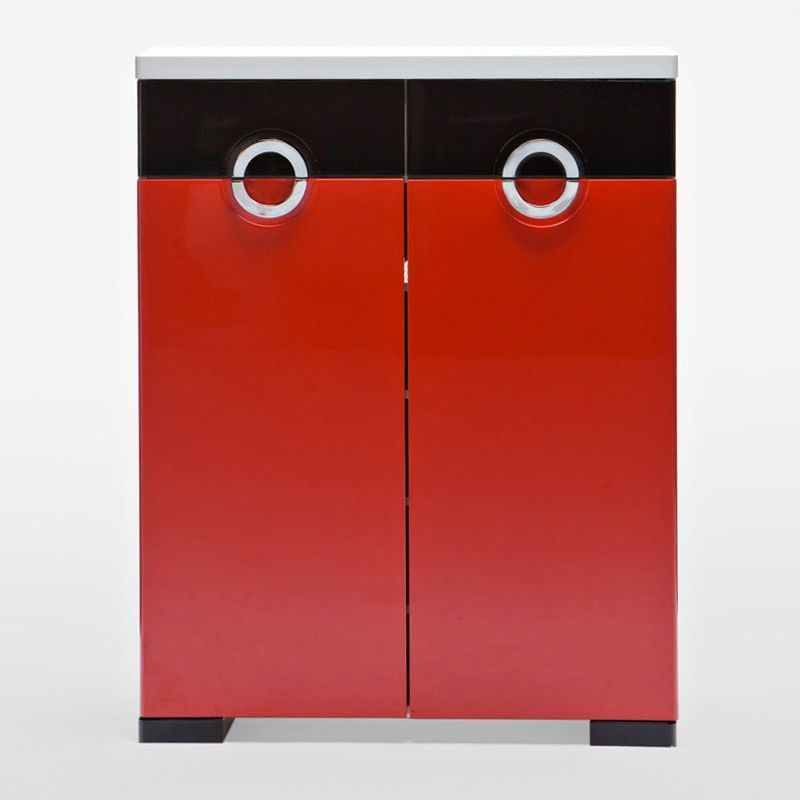 C10 Red and Black Shoe Cabinet with 2 Doors 2 Drawers - 102cm