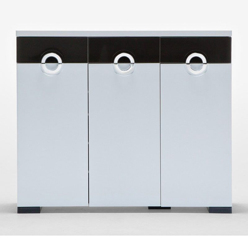 C11 White and Black Shoe Cabinet with 3 Doors 3 Drawers - 120cm