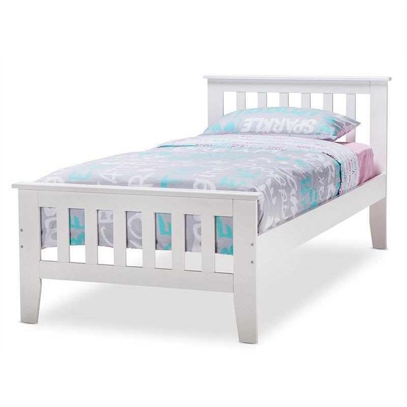 Avana Wooden Bed, King Single, White