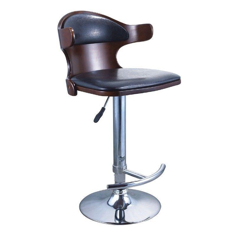 Walnut Timber and Black PU Seat Swivel Barstool - 110x44cm