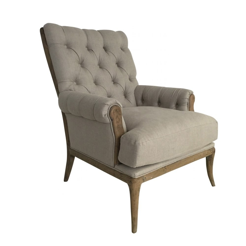 Abbess Fabric Armchair, Beige
