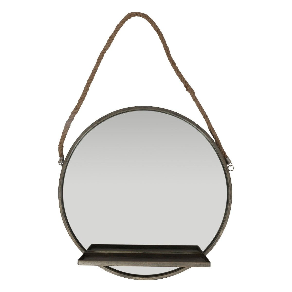 Murray Metal Frame Round Wall Mirror with Shelf, 56cm