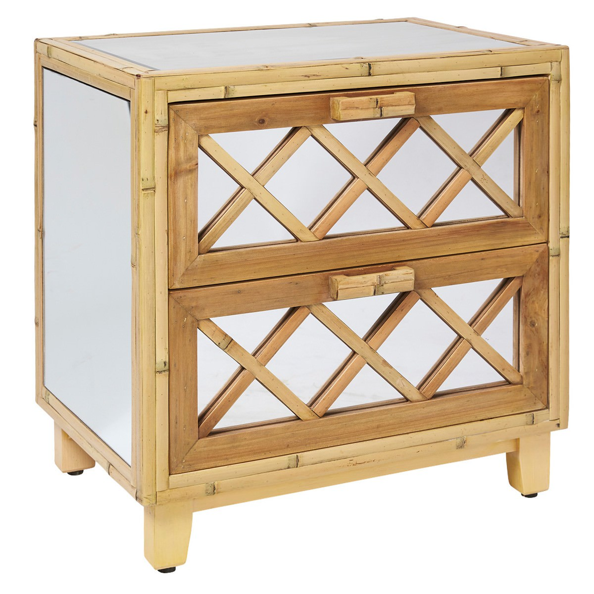Cayman Bamboo & Mirrored Glass 2 Drawer Side Table