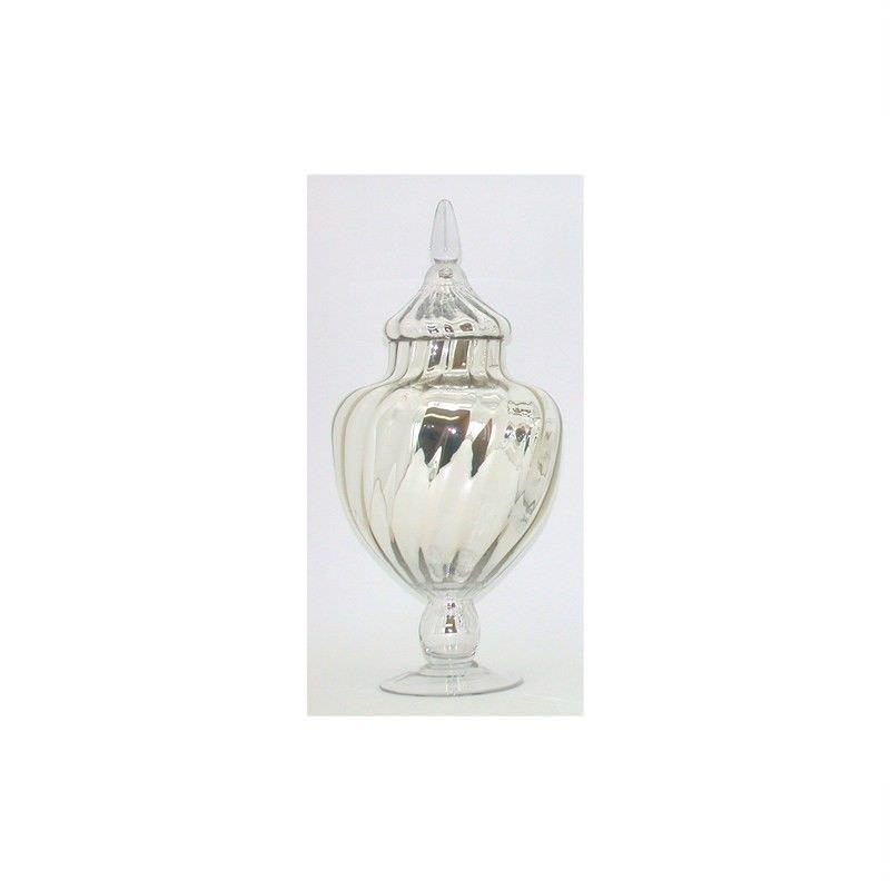 Mercury Glass Candy Jar With Lid  - 27x27x40cm