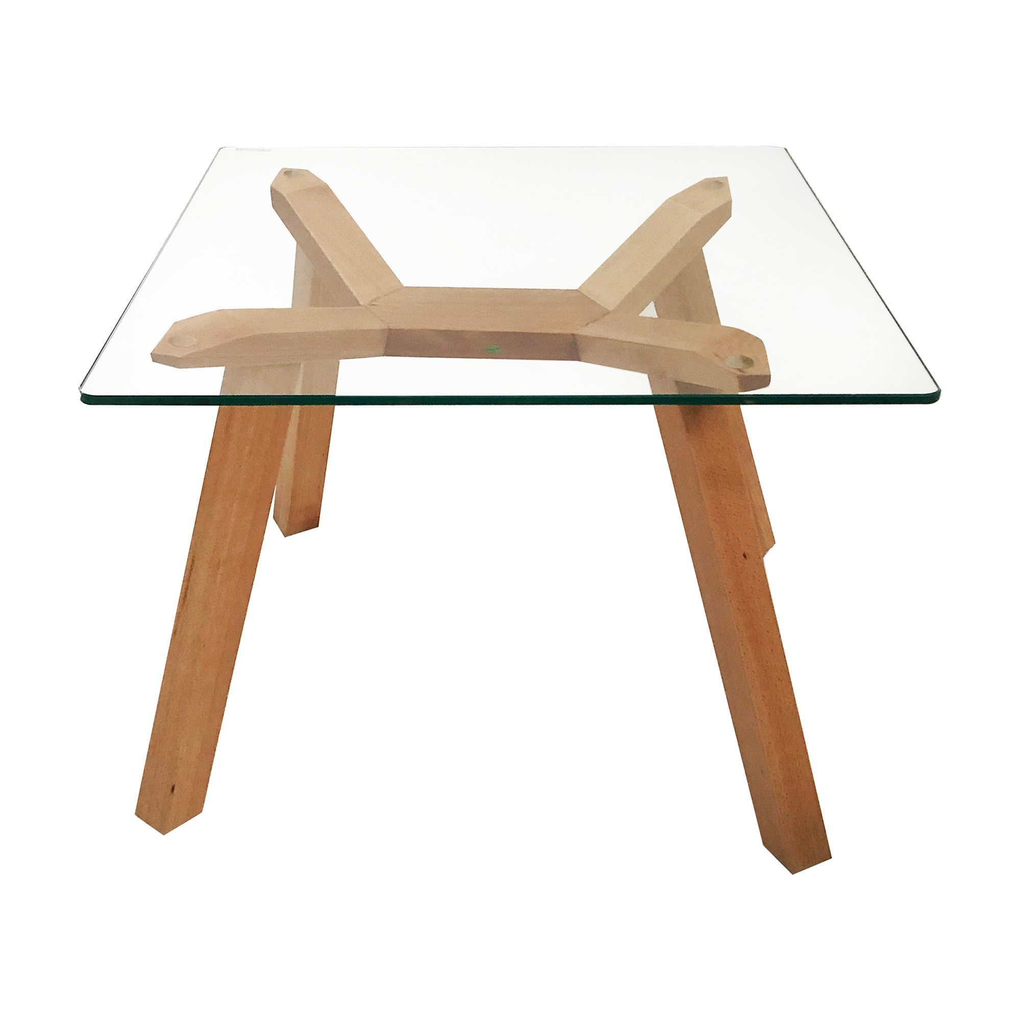 Finland Glass Topped Beeach Wood Square Lamp Table