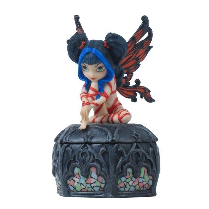Dark Fairy Trinket Box, Red Ribbon Fairy
