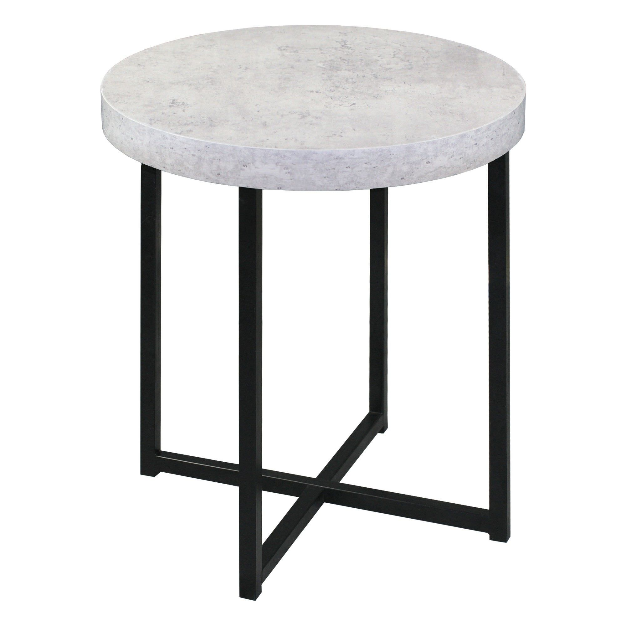 Harper Faux Concrete Top Round Side Table