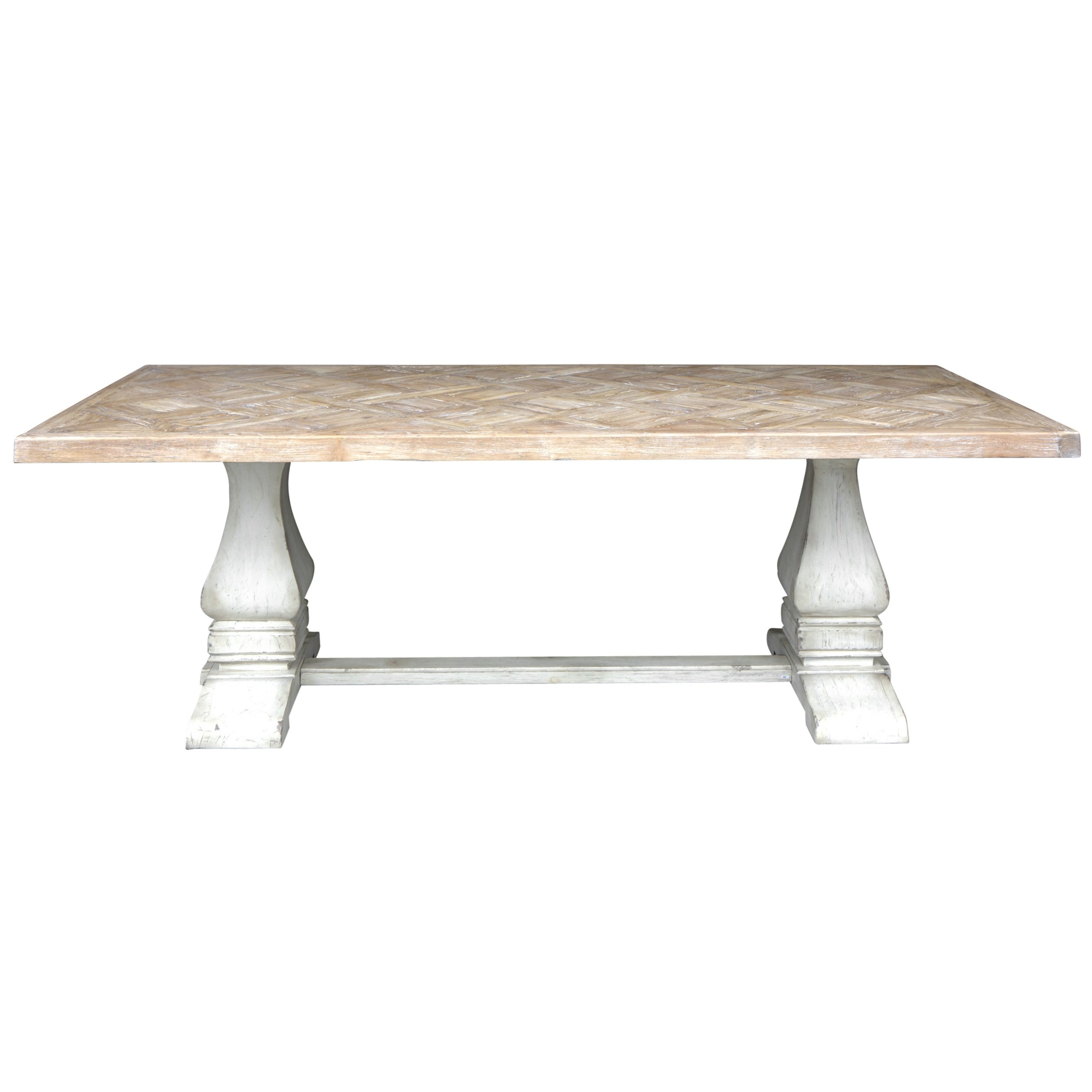 Normandy Teak & Mindi Wood Trestle Dining Table, 220cm