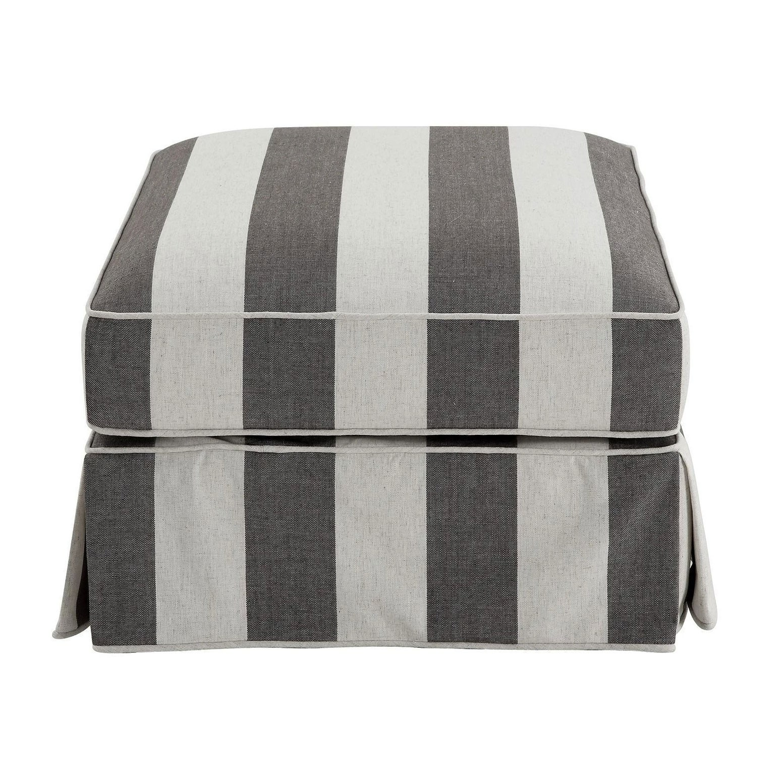 Noosa Fabric Ottoman Slipcover (Cover Only), Charcoal / Cream Stripe