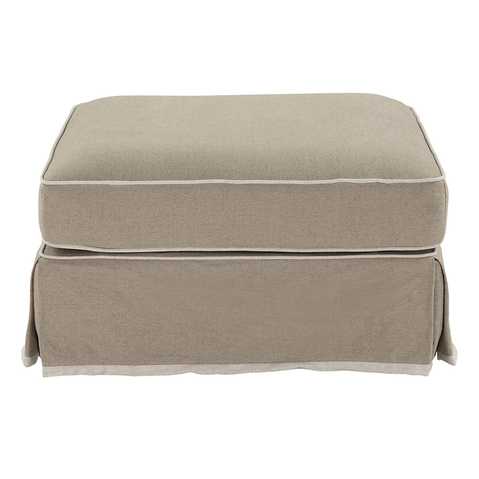 Noosa Fabric Ottoman Slipcover (Cover Only), Beige with White Piping