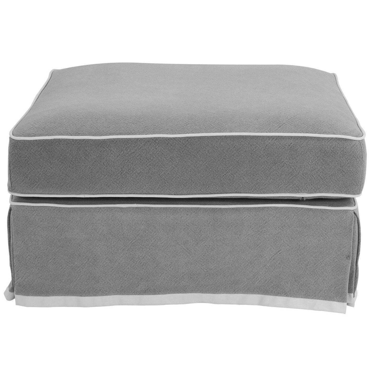 Noosa Fabric Ottoman Slipcover (Cover Only), Grey with White Piping