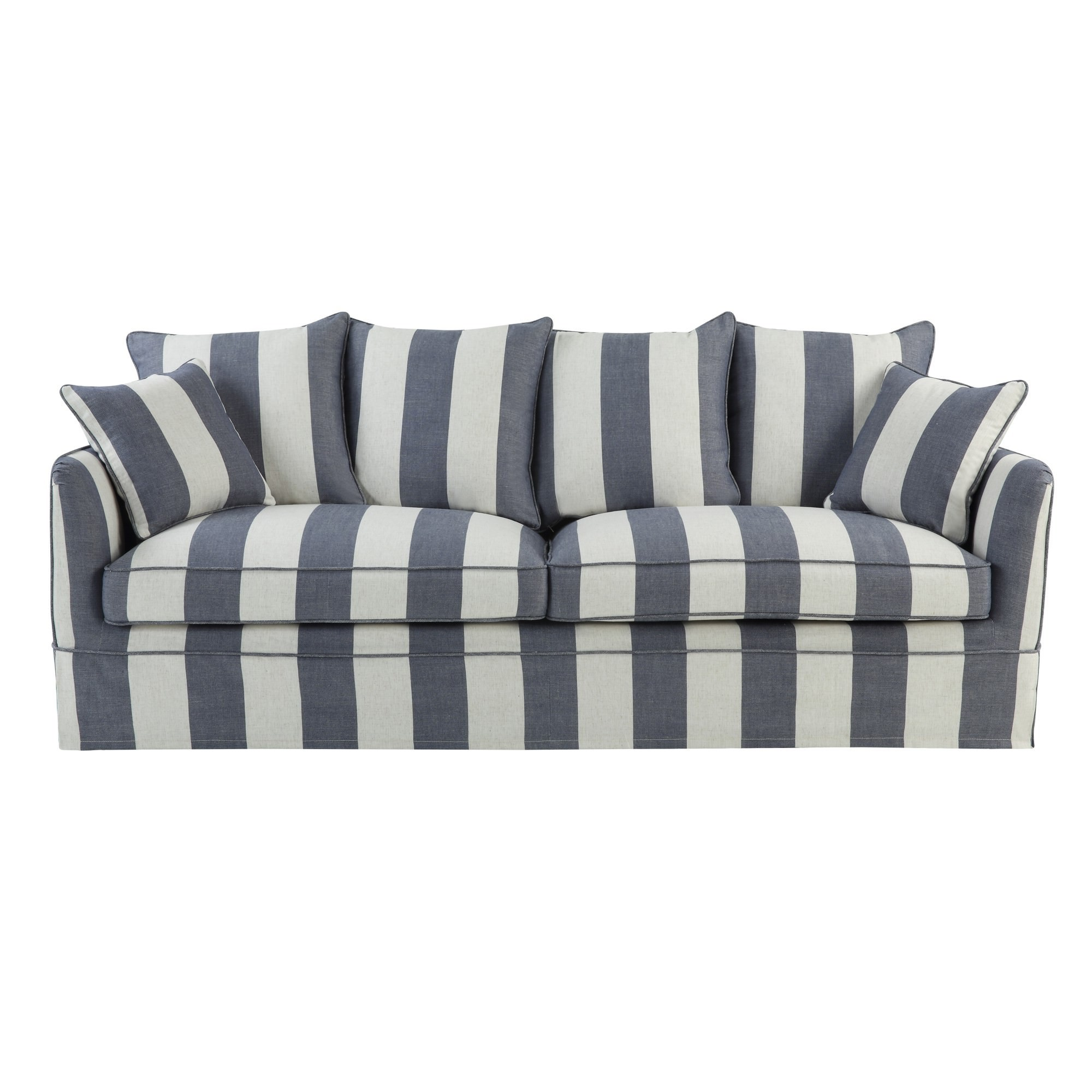 Noosa Fabric Sofa Cover (Cover Only), 3 Seater, Denim / Cream Stripe