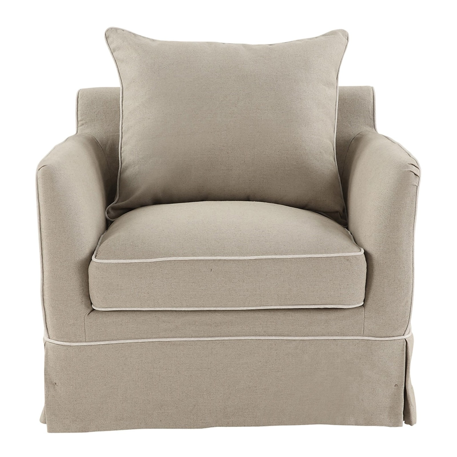 Noosa Fabric Armchair Cover (Cover Only), Beige with White Piping