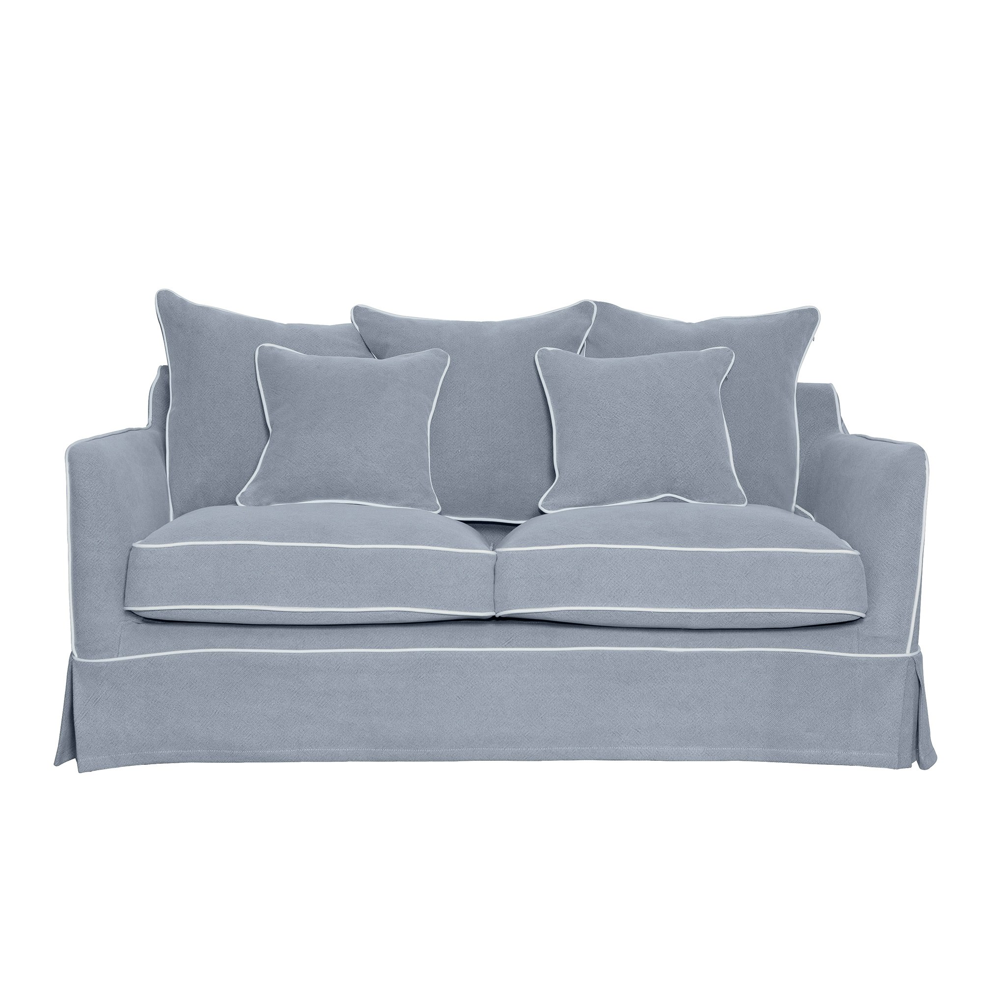 Noosa Fabric Sofa Cover (Cover Only), 2 Seater, Grey with White Piping