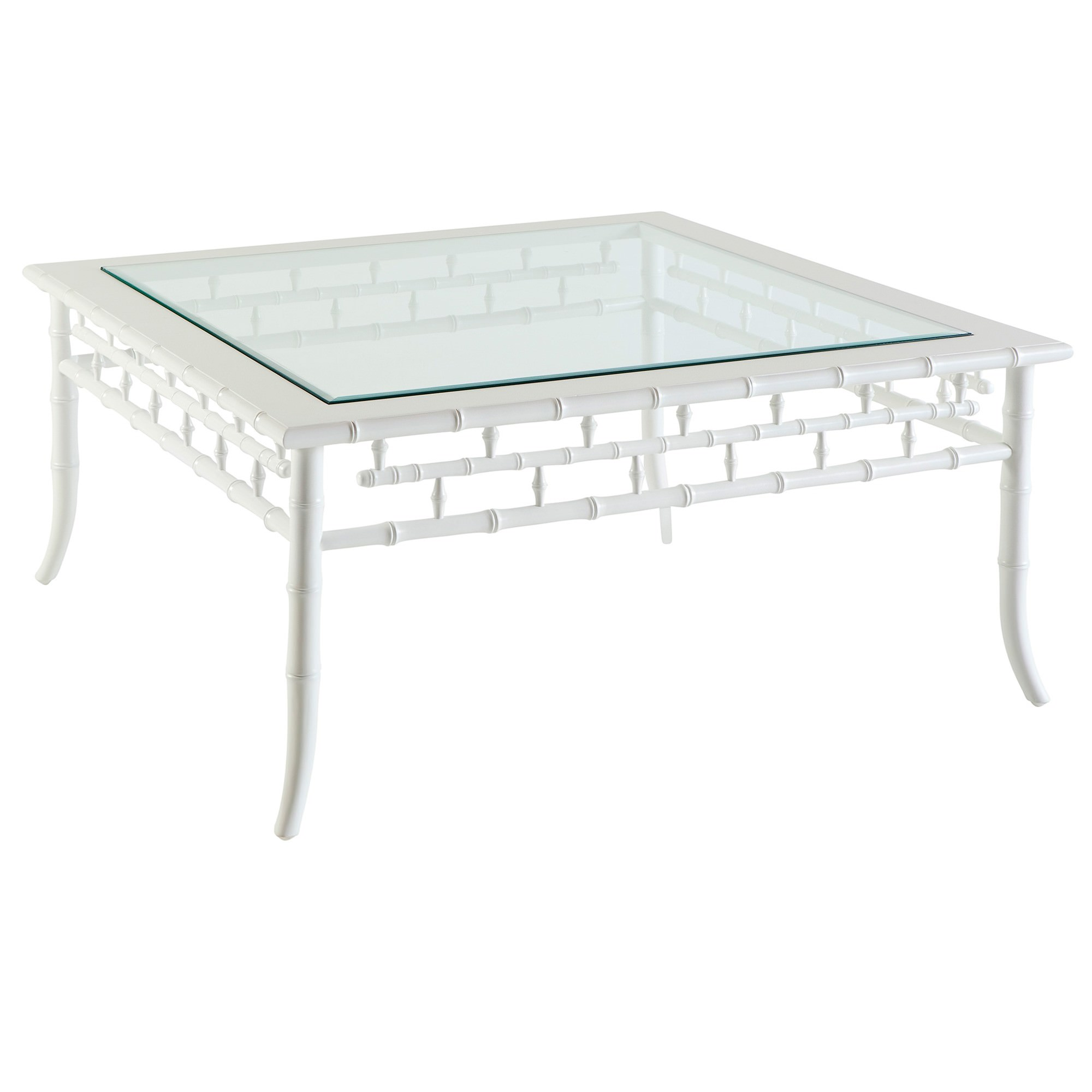 Floria Quays Glass Topped Mahogany Timber Coffee Table, 100cm, White